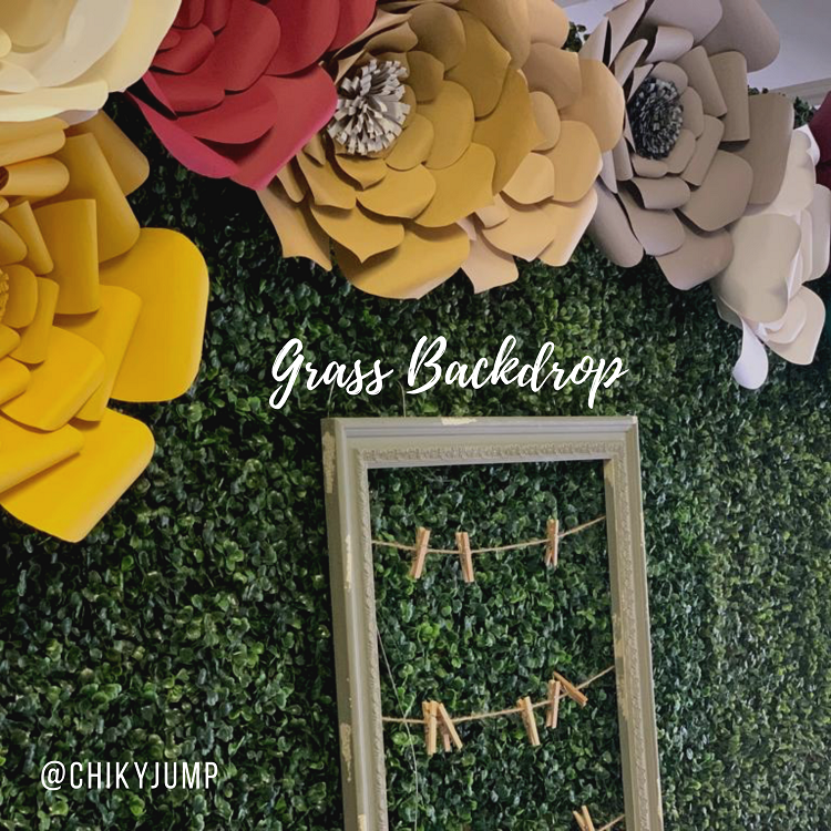 Grass Backdrop with paper flowers