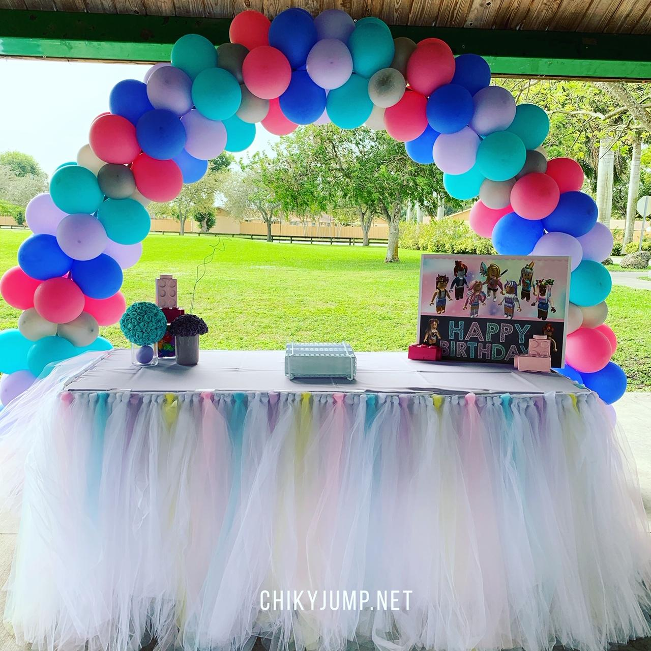 Archballoon and Table Cake with Tutu Skirt, Party Decorations